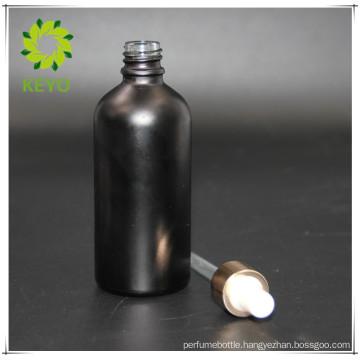 100ml black cosmetic glass dropper bottle