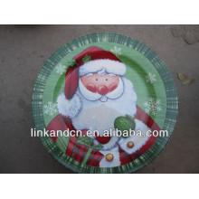 KC-02524santa pintado a mano cerámica placa de Navidad, plato de pastel