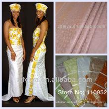 Tela africana de la ropa del algodón Guinea Brocade Textiles nigerianos Bazin Riche Jacquard Damask Shadda Handfeeling suave