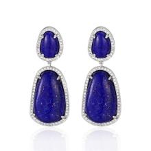 Pendientes colgantes de piedra lapislázuli de estilo vintage
