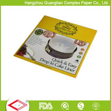 Forros de lata de bolo de papel de cozimento de pré-corte redondo de 10 polegadas pré-corte