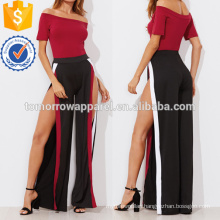 Bodysuit With Contrast Trim Split Wide Pants Manufacture Wholesale Fashion Women Apparel (TA4029SS)