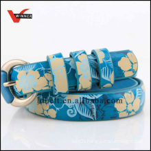 Flower Pattern Female's Jean PU Belts