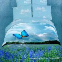 100% Cotton Bed Sheet Comforter Set 3D Reactive Printed Bed Room Set