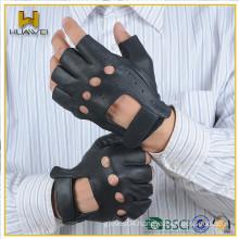 Men Sheep Leather Driving Fingerless Gloves