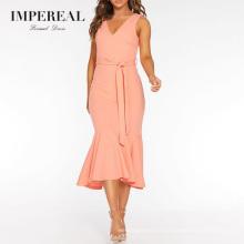Peach V Neck Fishtail Midi Trending Women Set Formal Prom Dress