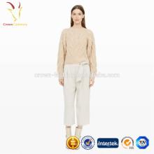 Lady cashmere cable camisola de malha de moda