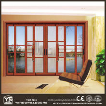 Woodwin Main Product Wood Grain Aluminum Double Tempered Glass Sliding Door