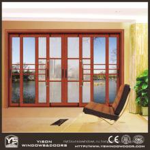 Woodwin Основной продукт Дерево Зерно Алюминий Двойная закаленная стеклянная раздвижная дверь