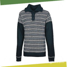 Men's Pullover Sweater, Made of 55% Cotton and 45% Acrylic with Jacquard Print