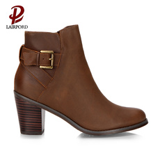 low heel brown cowhide leather ankle boots