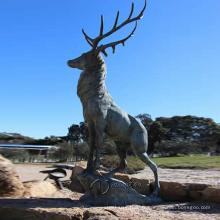 Aménagement paysager Jardin statues métal artisanat skyfall film bronze statue de cerf