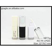 Nova chegada plástico quadratum Lip Gloss tubo AG-YX-LPG01, embalagens de cosméticos do AGPM, cores/logotipo personalizado
