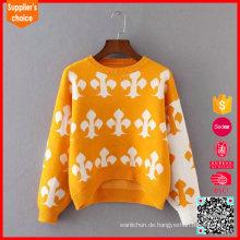 Späteste Design-Intarsien-Pullover-Baumwollstrickmuster-Dame-Pullover-Strickjacke