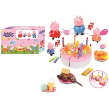 Favory Pink Pig Birthday Cake Toys with Light
