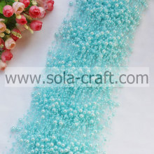 Top selling light sky blue faux wire pearl plastic pearl strands