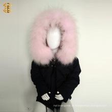 Inverno Kid algodão jaqueta infantil com forro de pele de raposa