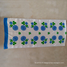 100% soie satin bleu fleur petite serviette écharpe longue