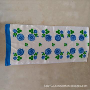 100% Silk Satin Blue Flower Small Towel Long Scarf