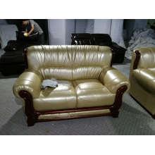 iPhone, sofá de couro de cor champanhe, 1 + 2 + 3 combinação sofá moderno (A06)