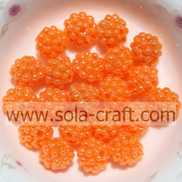 Orange Color Low Price Plastic Berry Beads For Necklace Finding