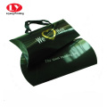 Glossy black wigs pillow box with ribbon handle