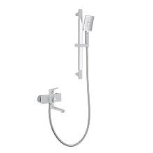 White Lacquered Wall-Mounted Bathtub Mixer