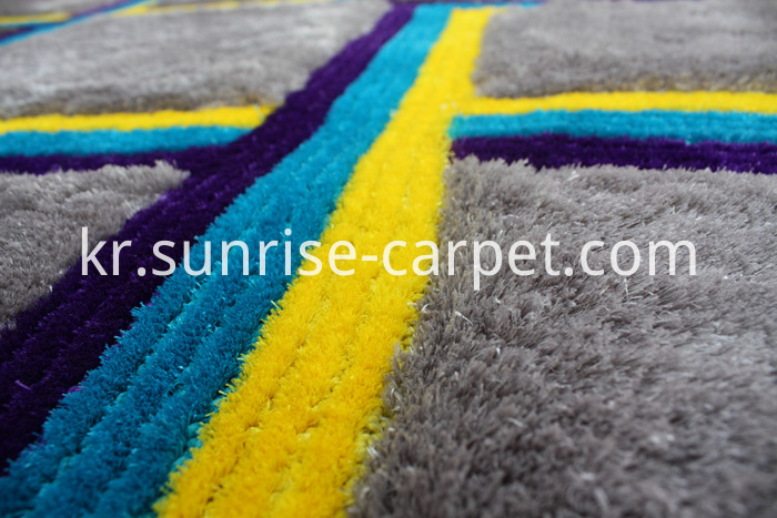Silk 3D & 4D Shaggy Rug Grey Blue Yellow