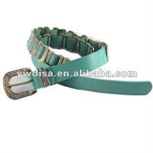 Lady's Rhinestones Cinturón de cuero genuino Azul