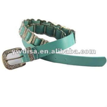 Lady's Rhinestones Genuine Leather Belt Blue