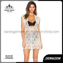 Women Crochet Halter Neck Sheer V Neck Plunge Dress