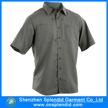 Männer Kurzarm Arbeitskleidung Baumwolle Grau Ingenieur Uniform Shirts