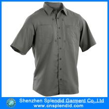 Men Short Sleeve Work Wear Cotton Gray Engineer Uniform Shirts