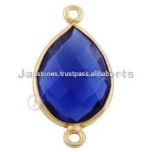 Conectores de piedras preciosas de bisel de oro de Vermeil, joyas de piedras preciosas naturales
