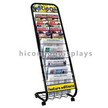 Simple Movable Metal Knock Down Muebles al aire libre Periódico Stand Alambre Comercial Stands de periódicos