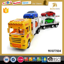 Plastic transport toy truck with 4 mini car