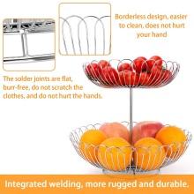 Corbeille à fruits en acier inoxydable étagère à fruits à deux couches
