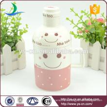 2015 Großhandel lächelnd Gesicht kreative Keramik Tasse mit Deckel