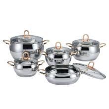 Ensemble de casserole en forme de pomme à manche doré en acier inoxydable