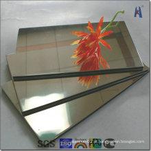 Painel composto em alumínio e espelho de ouro e prata
