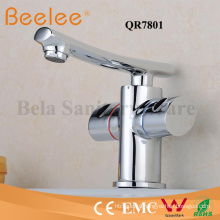 Long Flat-Shaped Spout Dule Round Handle Bathroom Basin Faucet