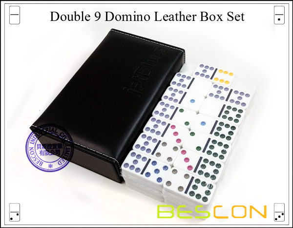 Double 9 Domino Leather Box Set-2
