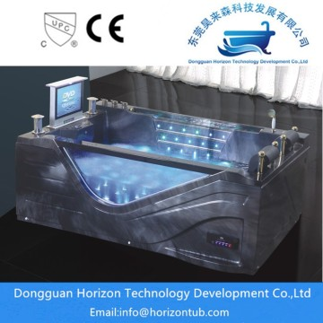 Glass freestanding hydromassage bathtub