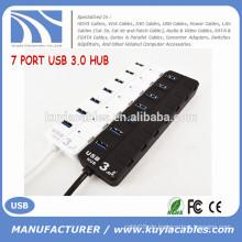 High Speed 7 Port USB 3.0 Hub Unterstützung 5 Gb / s Single On / Off Kompatibel mit USB3.0 / USB2.0 / 1.1