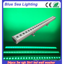 24x3w rgb 3in1 IP65 extérieur dmx rgb led wall washer