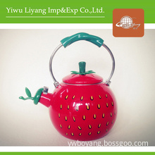 Vivid Strawberry Tea Kettle Enamel Whistle Kettles