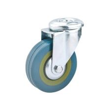 Roulettes pivotantes en caoutchouc gris à trou de boulon