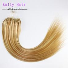 Pelo de la extremidad del lazo de la queratina de la moda del grado 6A, extensión 100% barata del pelo humano del anillo del lazo de Remy del indio el 100%