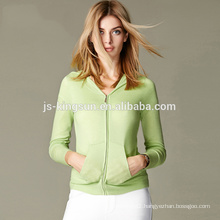 Cashmere sweater women hooded cardigan with zipper front JS-16004