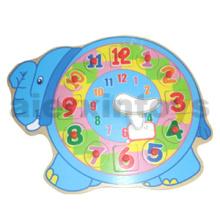 Rompecabezas de madera del reloj del elefante (80903)
